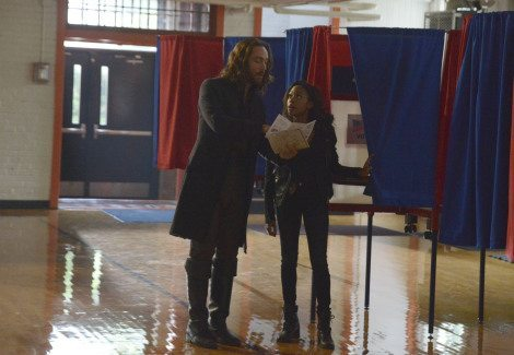 Ichabod's futile attempts at campaigning at the polling place. [FOX]