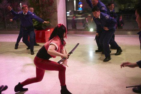 The untrained Miko prepares to fight One Dozen Dudes [NBC]