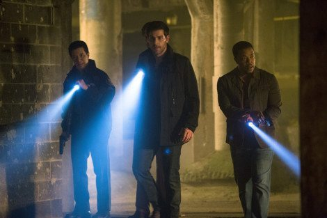 """GRIMM -- """"The Grimm Identity"""" Episode 501 -- Pictured: (l-r) Reggie Lee as Sgt. Wu, David Giuntoli as Nick Burkhardt, Russell Hornsby as Hank Griffin -- (Photo by: Scott Green/NBC)"""