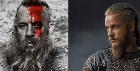 [Vin Diesel as Kaulder on left, Travis Fimmel as Ragnor Lothbrok from Vikings on right]