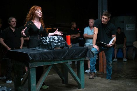 Rowena attempts to consolidate her power as director Jensen Ackles (Dean) looks on [Source: Diyah Pera /The CW]