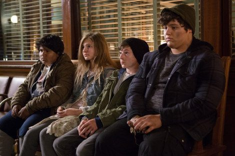 """GRIMM -- """"Lost Boys"""" Episode 503 -- Pictured: (l-r) Julio Cesar Chavez as Miguel, Emma Rose Maloney as Lily, Mason Cook as Peter, Eric Osovsky as Big John -- (Photo by: Scott Green/NBC)"""