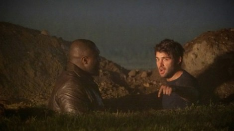 Just two dudes hanging out in a hole dug by a crazy guy who is mutating into a man-monster [CBS]