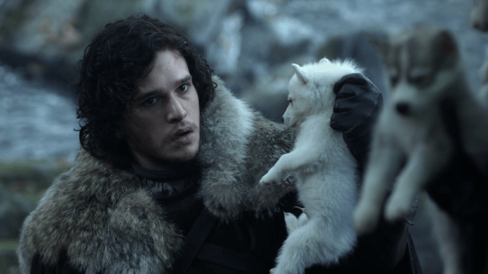 Jon Snow con Ghost, nella prima stagione di Game of Thrones