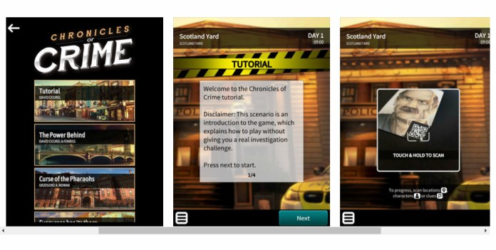 Chronicles of Crime app, avviamento dello scenario