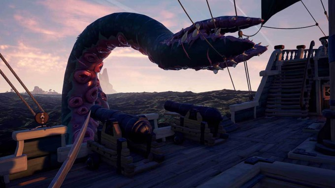 il kraken di sea of thieves sta attaccando il nostro galeone