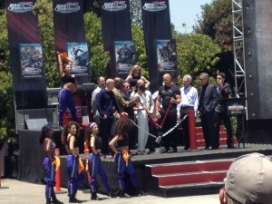 Vin Diesel, Michelle Rodriguez, Tyrese Gibson and Jaston Statham open the Fast & Furious Supercharged ride.