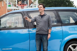 Rusty Griswold (Ed Helms) and the new family travel vehicle the Prancer