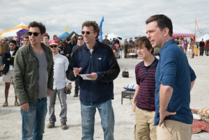 John Francis Daley and Jonathan Goldstein on the set of Vacation with Ed Helms and Skyler Gisondo