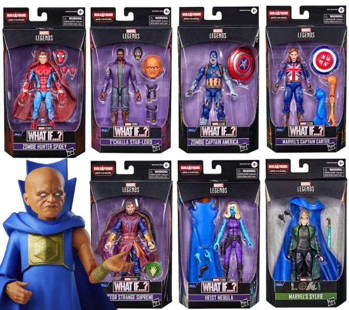 Marvel Legends figures for Zombie Hunter Spidey, T'Challa Star-Lord, Zombie Captain America, Captain Carter, Doctor Strange Supreme, Heist Nebula, Sylvie Laufeydottir, and Uatu the Watcher