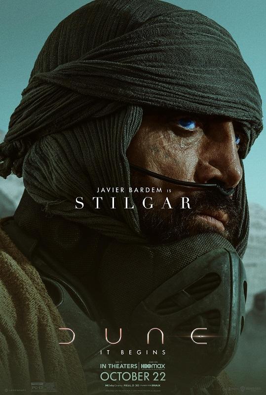 Dune character poster featuring Javier Bardem as Stilgar