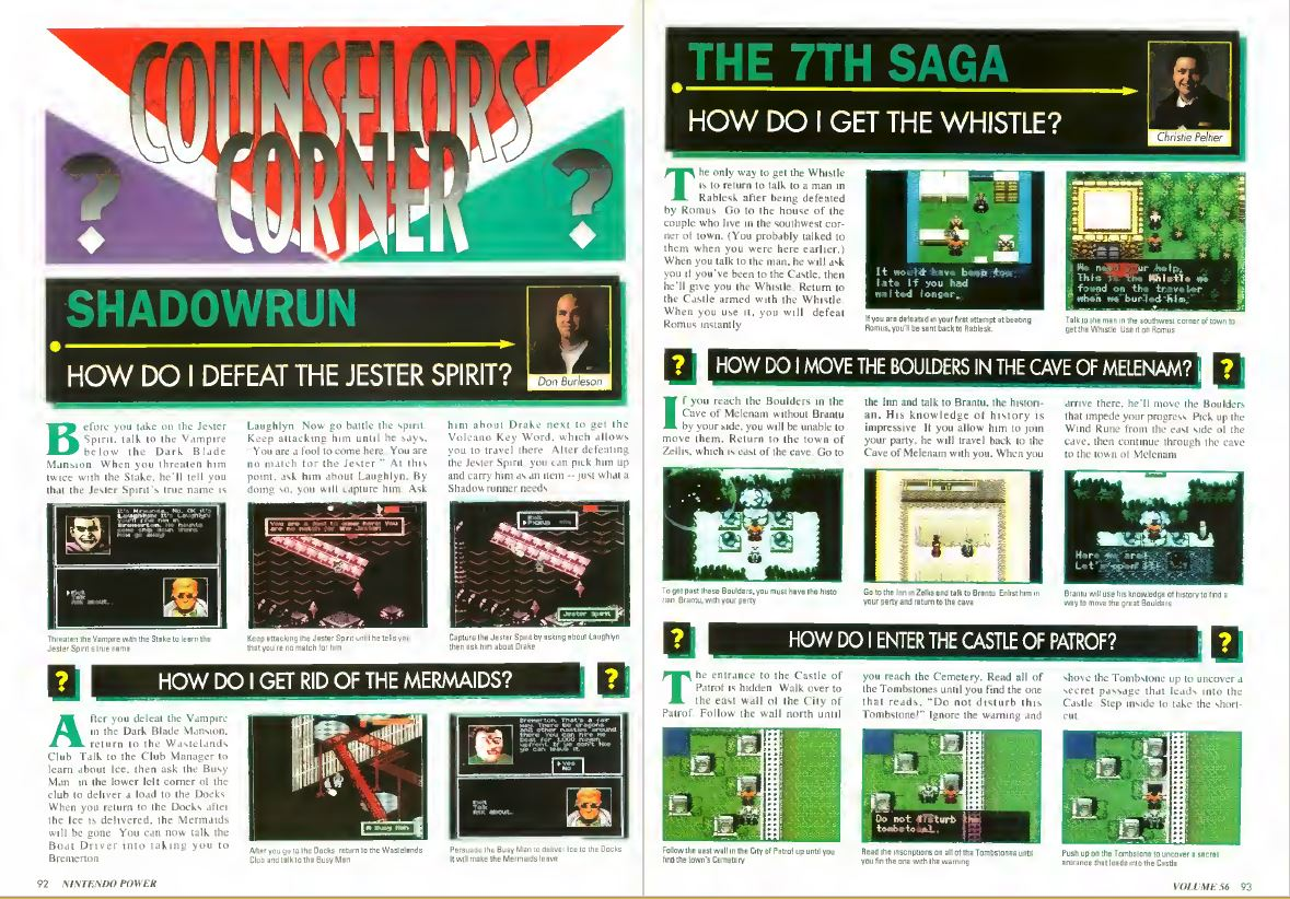 Counselors' Corner, Nintendo Power Issue 56, January 1994