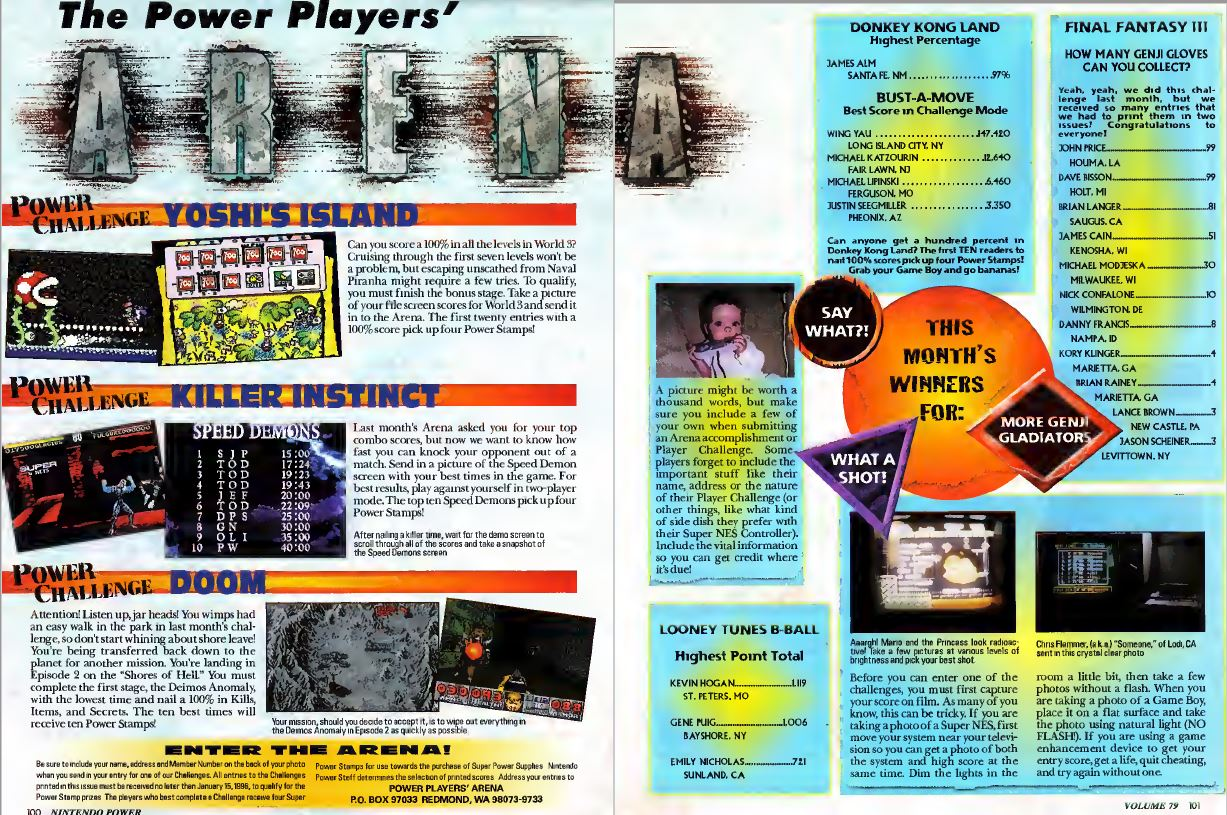 Power Players Spread High Score Challenge Arena Nintendo Power Issue 79 December 1995
