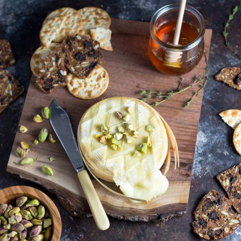 EasyBaked Brie with Honey and Pistachios