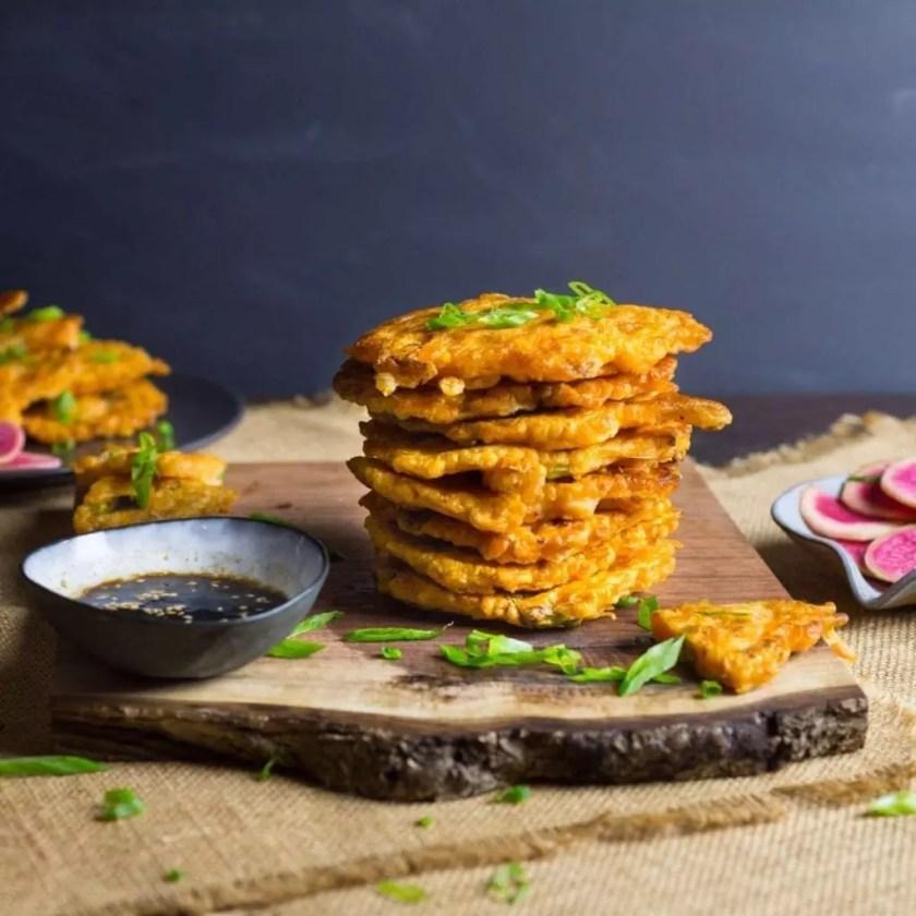 Kimchi Pancakes with Shrimp