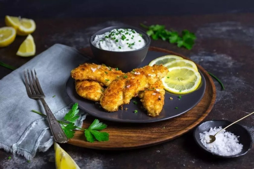Crispy Oven-baked Chicken Tenders with Herb Yogurt Dip
