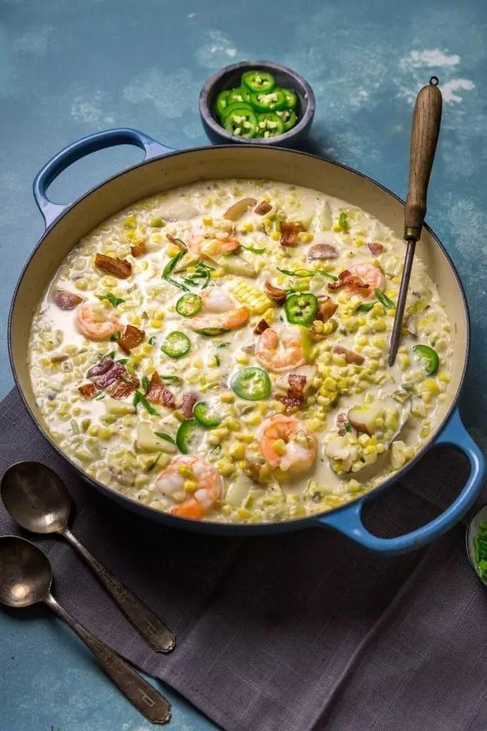Smoky and Creamy Corn Chowder with Shrimp
