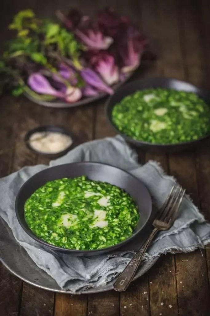 Nettle Risotto with Green Garlic and Taleggio