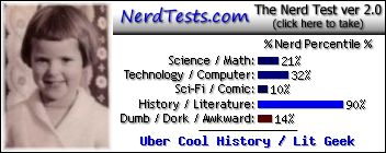 NerdTests.com says I'm an Uber Cool History / Lit Geek.  Click to take the Nerd Test, get geeky images and jokes, and write on the nerd forum!