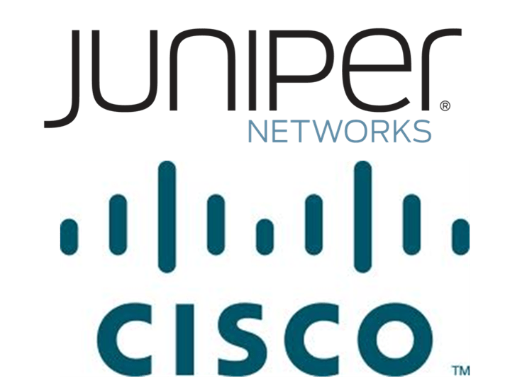 Juniper logo over Cisco