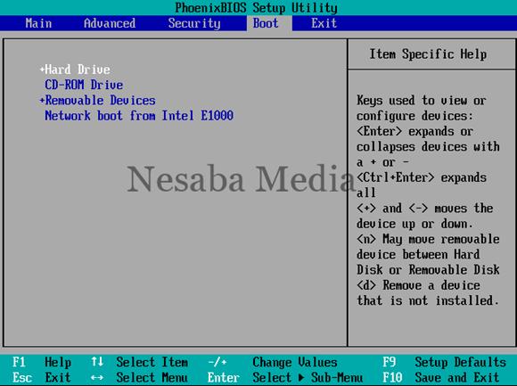 arahkan CD ROM Drive paling atas