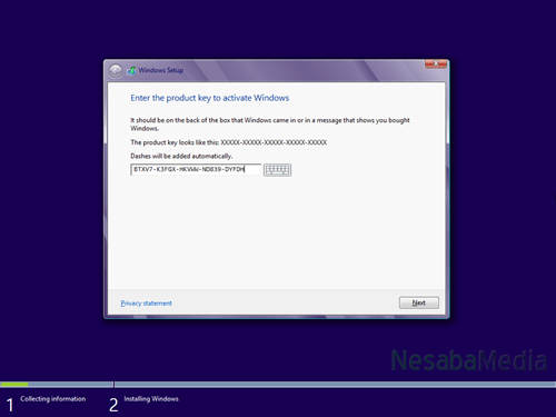 masukkan product key windows 8