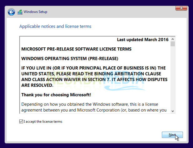 check the agreement for windows 10