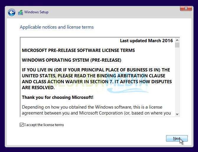 centang agreement windows 10
