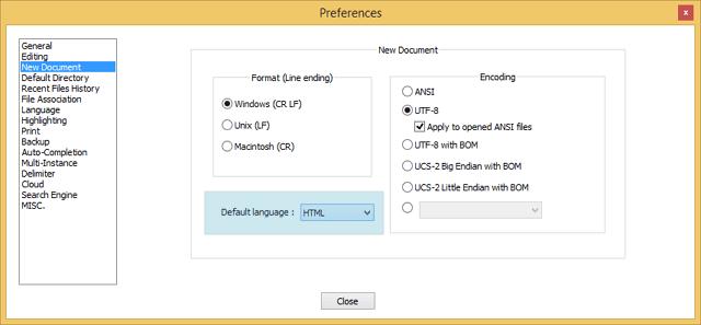 pilih HTML sebagai default language