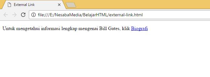 penggunaan external link