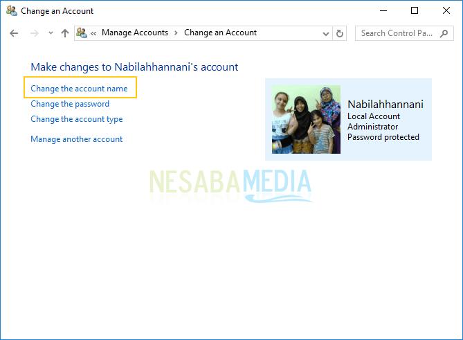 pilih change the account name