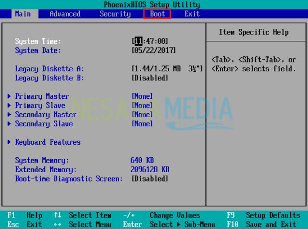 initial display of windows bios 10