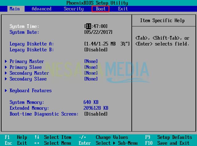 tampilan awal bios windows 10