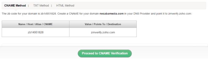 pilih proceed to cname verification