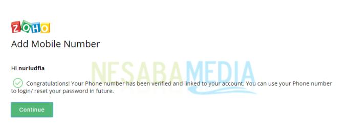 verifikasi nomor ponsel berhasil