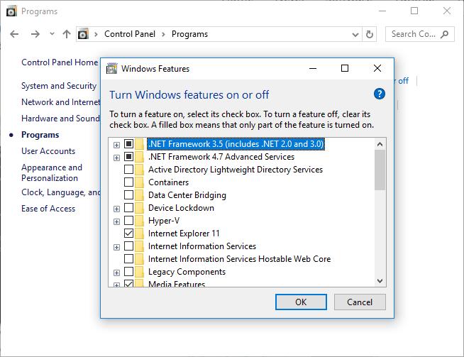 cara instal net framework 3.5 di windows 10