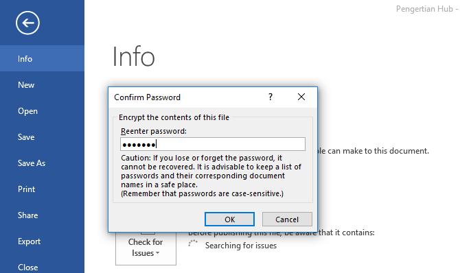 cara memberi password pada file word