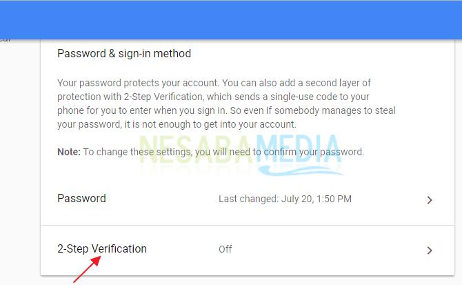 cara mengaktifkan verifikasi 2 langkah