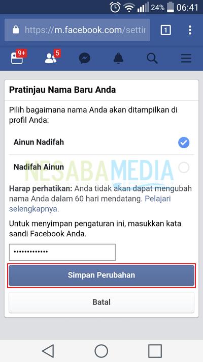 Berhasil mengganti nama Facebook