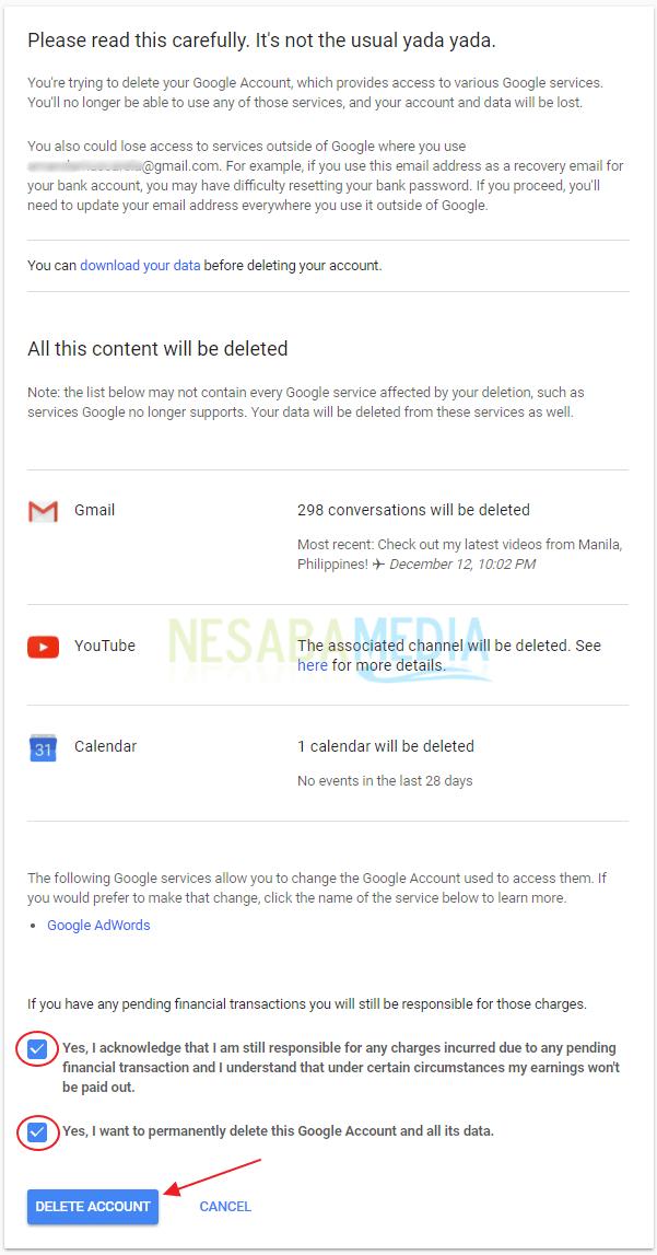 cara menghapus akun gmail / google mail