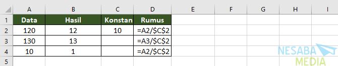 rumus pembagian di Excel dengan angka konstan