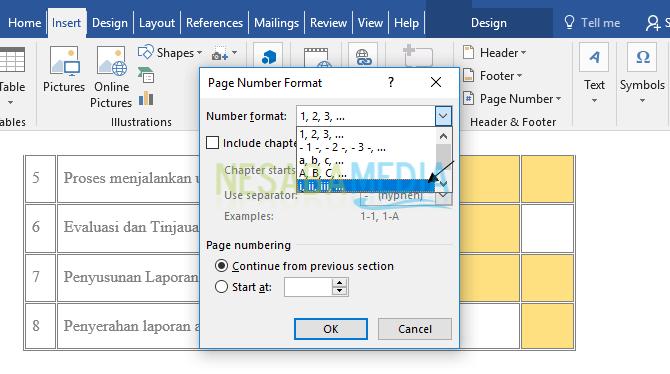 cara membuat nomor halaman makalah