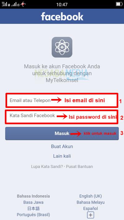 Langkah 4 app - isi email dan password