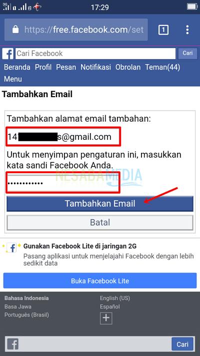 Langkah 6 - isi email baru, pass, lalu klik tambahkan email