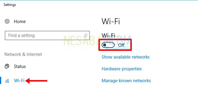 Klik pada bagian Wi-Fi