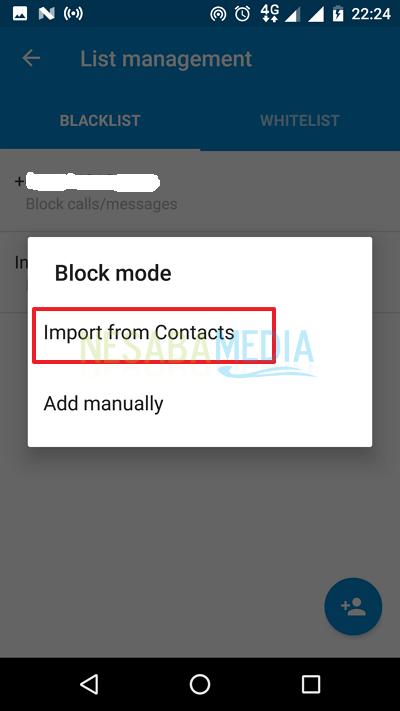 klik Import form Contacts