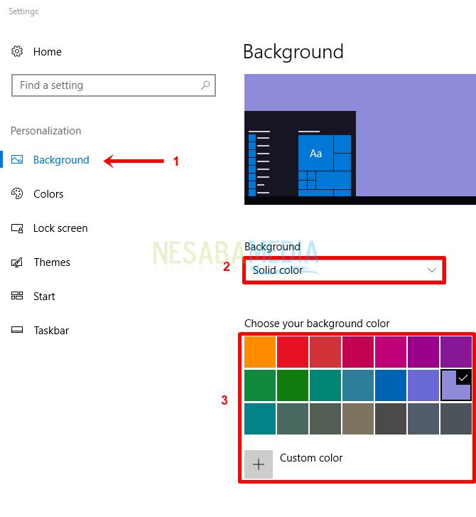 Langkah 2 - pilih background, solid color, warna