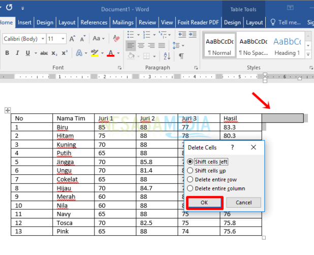 how to create table in word 2013
