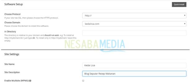 enter site name and site description