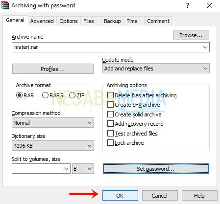 cara membuat file zip dan rar dengan password